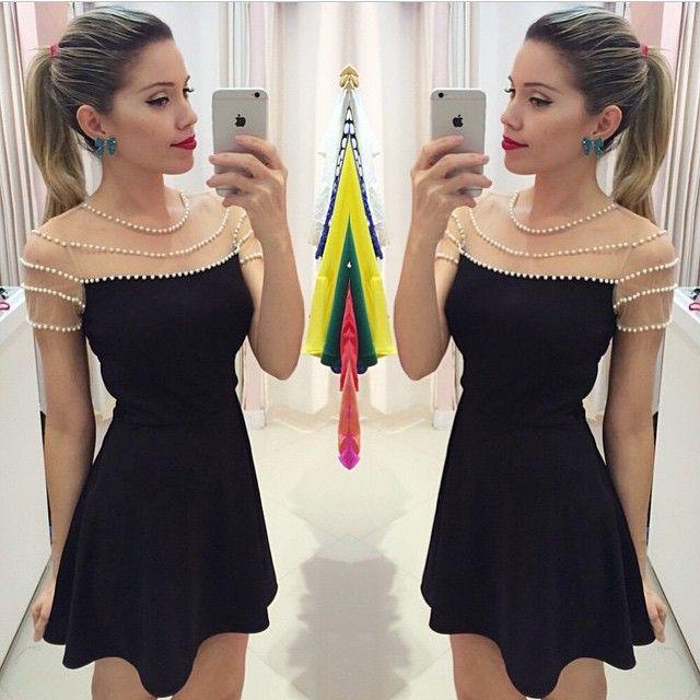 2015 nova moda feminina verão preto vestidos vestidos o-pescoço sem mangas casual mini vestido