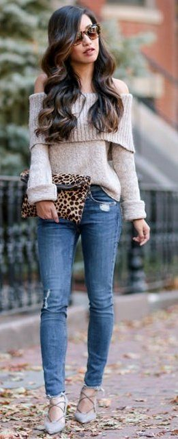 #fall #trends   Off Shoulder Sweater + Jeans