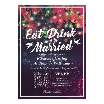 Elegant EAT Drink & Be Married Wedding Invitations - floral style flower flowers stylish diy personalize