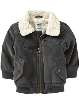 Sherpa-Lined Corduroy Jackets for Baby | Old Navy I bought this jacket for my youngest ds. It is warm and it was easy to shorten the sleeve without destroying the jacket.