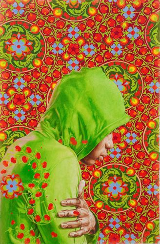 """Kehinde Wiley Studio - Head of a Young Girl Veiled Study, 2010 Oil on paper 40"""" x 26.5"""""""
