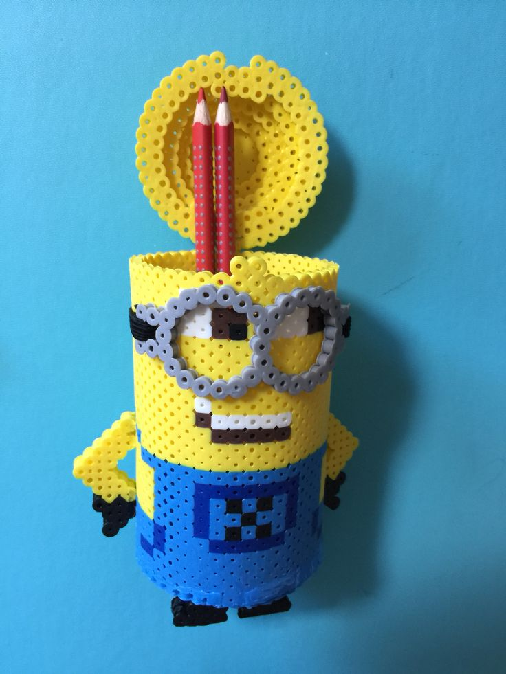 3D Minion container perler beads by Alice Yu
