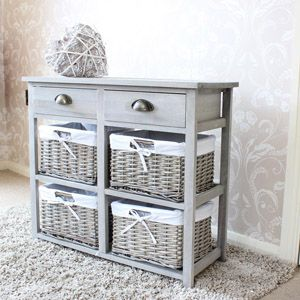Vintage Grey Range - Two Drawer and Wicker Basket Storage Unit