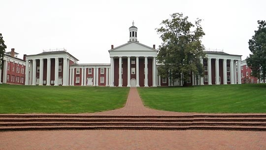 View of the Colonnade at Washington and Lee University in Lexington, Virginia