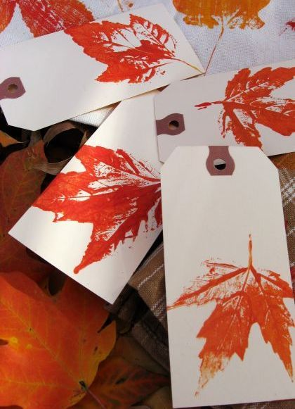Leaf prints with real leaves, acrylic paint, waxed paper & a paint roller -- for fabric, cardstock or paper.