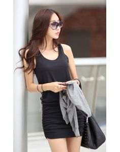 Women's Casual Black Sleeveless Dress - 181924106