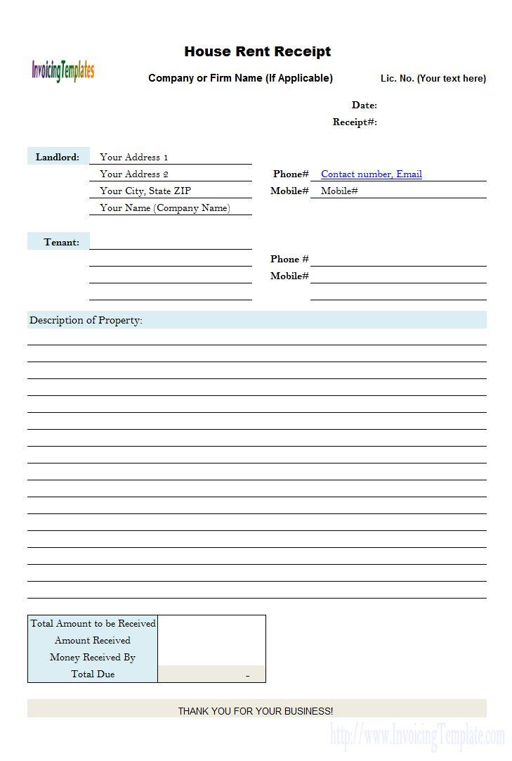 House Rent Receipt Form