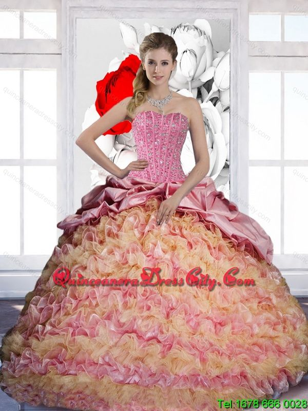 Modern Pick Ups and Ruffles Sweetheart 2015 Quinceanera Dresses in Multi Color - http://m.quinceaneradresscity.com