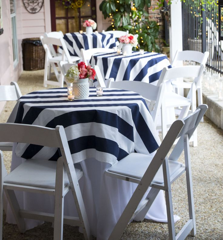 Nautical Engagement Party*Angela Marie Events*Baton Rouge, LA #stripedtableclothes #premierfabrics #nauticalparty