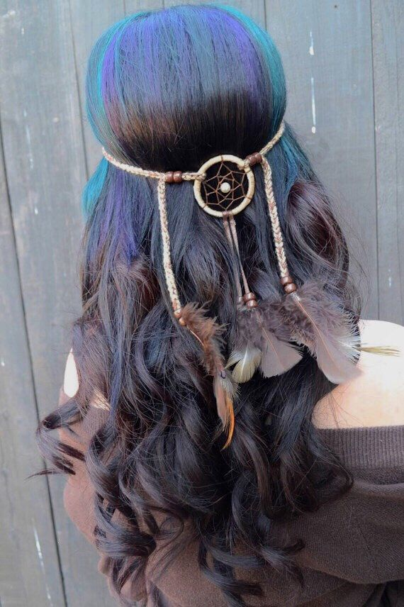 Dreamcatcher Feather Headband - Brown Feather Headband - Hair Accessories - Tribal - Native American - Indian - Burning Man by VividBloom on Etsy https://www.etsy.com/listing/236384121/dreamcatcher-feather-headband-brown