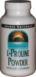Source Naturals L-Proline Powder : Source Naturals L-Proline Powder is an amino acid valuable for the synthesis of collagen and cartilage to promote joint health and healthy skeletal muscle functions. Vegan diet, low-protein diet, and normal ageing process may reduce the bodys production of this non-essential amino acid. During these cases, additional supply of L-Proline should be acquired from the diet or L-Proline supplements. - Log on http://www.tasmanhealth.co.nz/source-naturals-l-pro
