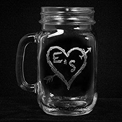 Engraved Mason Jar Mugs, Wedding Gift Ideas, Toasting Glasses, SET OF 2