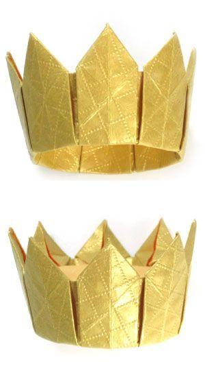 Achtzackige Origami-Krone. Man könnte für Mabu Royal Family verwenden. Die Kinder brauchen