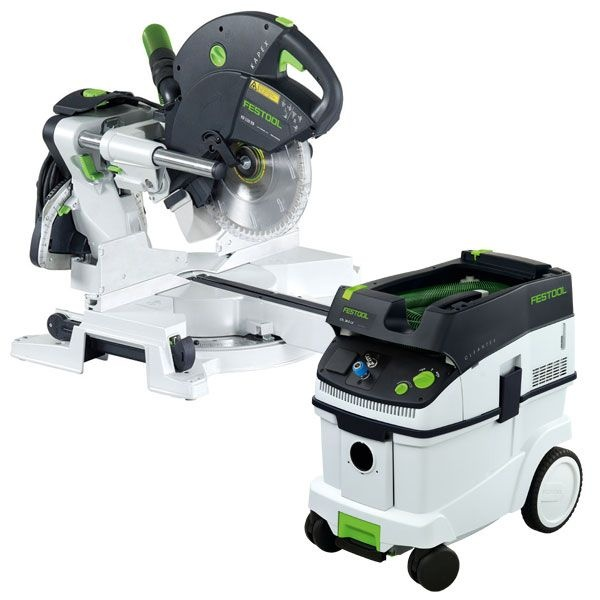 Festool KS 120 Dual Compound Sliding Miter Saw w/out T-LOC + CT 36 Dust Extractor Package