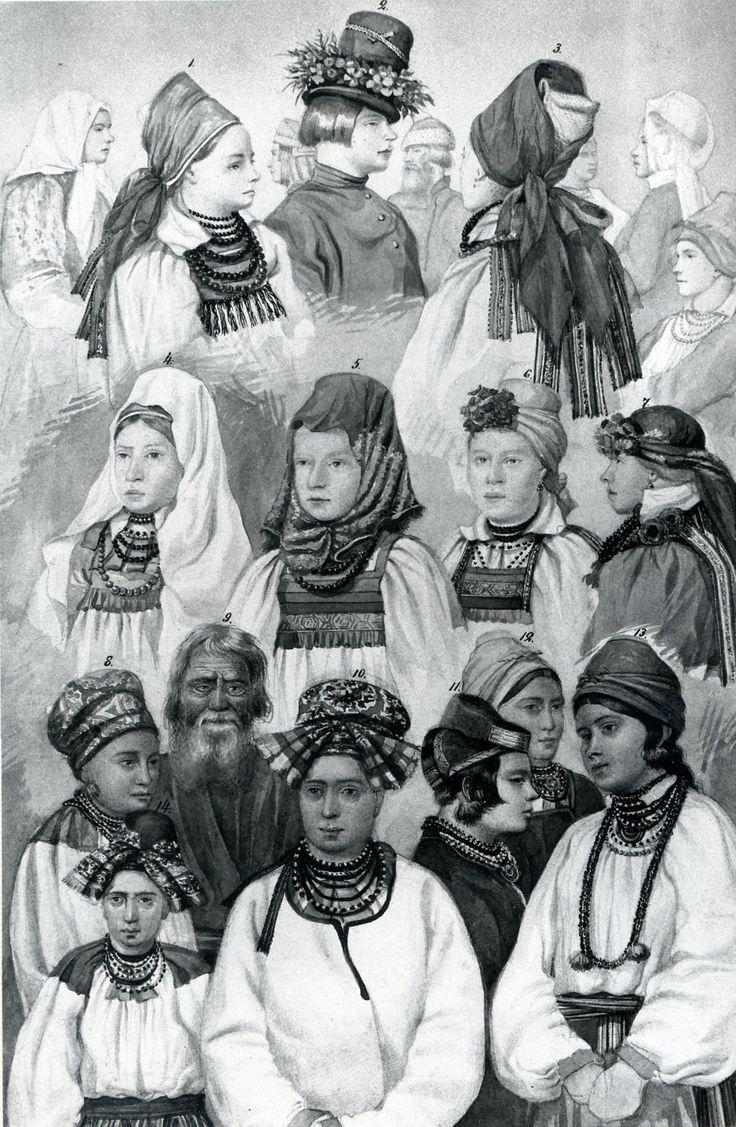 Типы крестьянских головных уборов Воронежской губ.Литография из альбома С.Павлова 1860 г.