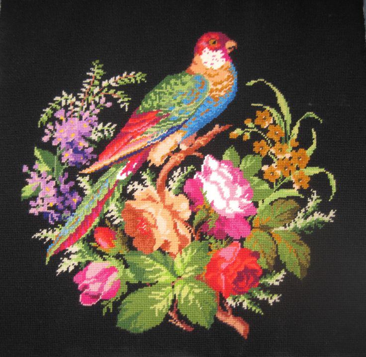 OOAK Finished Needlepoint Tapestry Exotic Bird by FairylandForest