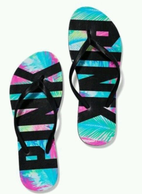 Victoria's Secret PINK Flip Flops Size Large (9/10) Tropical Palms Print NWT in Clothing, Shoes & Accessories | eBay