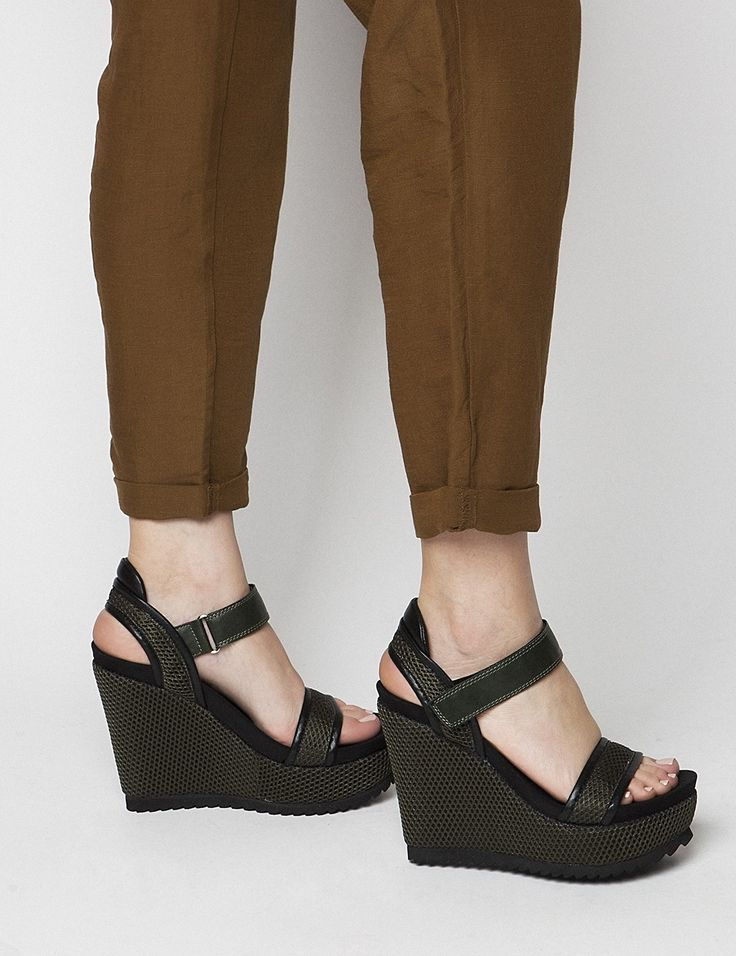 Dani Khaki Platforms S/S 2015 #Fred #keepfred #shoes #collection #mesh #fashion #style #new #women #trends #high #black #platfoms #green #wedges