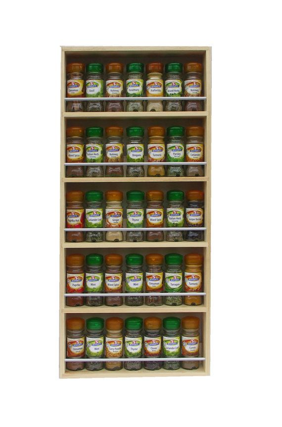 Solid Pine Spice Rack Contemporary Minimalist Style 5 Shelves Freestanding or Wall Mounted Kitchen Storage