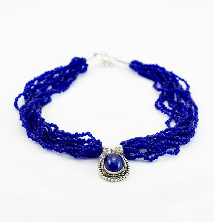Nepal Design | Royal Blue Pote Bead Necklace - Beaded Necklaces - Beaded - Jewellery