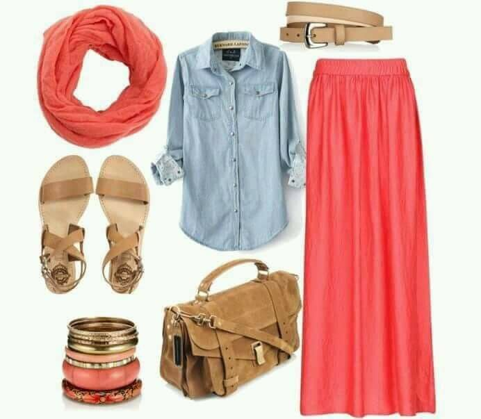 Fashion combination ~ coral and baby blue