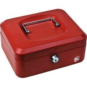Caja de caudales económica de acero con cerradura con llave de alta calidad.  Medidas: 20 x 16 x 9 cm. Color: Rojo