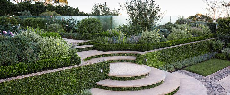 Staircase in classical garden by Eugene Gilligan Garden design