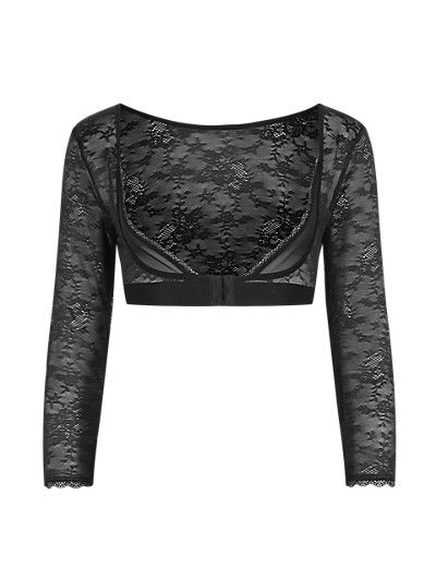 Light Control Sheer Floral Lace Armwear Crop Top   M&S