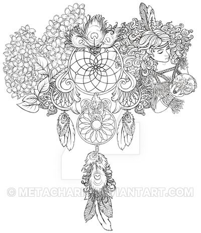Dream Catcher with Flowers and Indian Girl Tattoo by Metacharis on DeviantArt