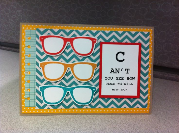 Glasses farewell card | My Cards | Pinterest | Glasses ...
