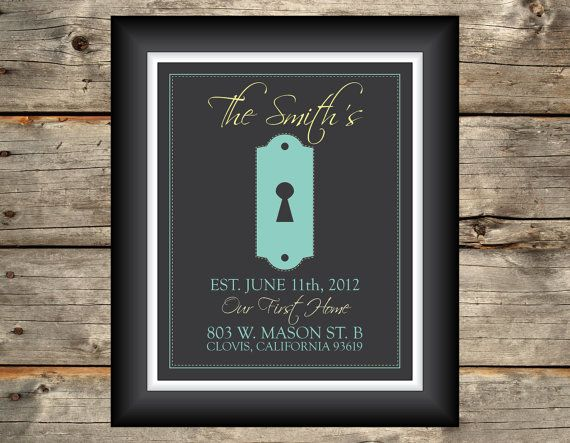 Our First Home Key Hole  Printable Art by GraphicDesignbyBecky, $18.00  --- cute housewarming gift!