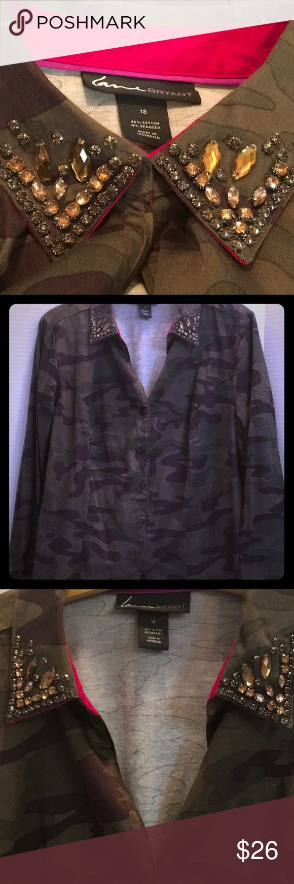"LANE BRYANT Cotton Spandex Button Down CAMO SHIRT LANE BRYANT Camouflage Pattern Button Down shirt. Spandex & cotton give a comfy fit. Sleeves roll over to reveal pink/ magenta pop...Collar haas topaz & Gun Metal rhinestone shapes SIZE 18...24"" pit- pit...26 1/2"" shoulder - edge. EUC💕🌿🔆💕🌿🔆💕🌿🔆💕🌿 Lane Bryant Tops Button Down Shirts"