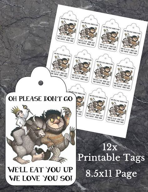 Where the wild things are Birthday Favours Printable Party