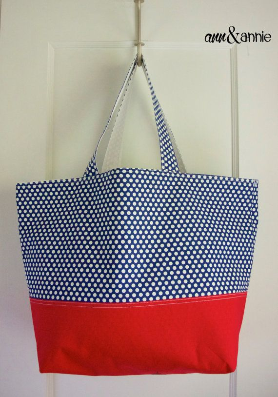 SALE! {Navy Polka Dot & Red Tote Bag with White Paisley lining} Ann&Annie on Etsy