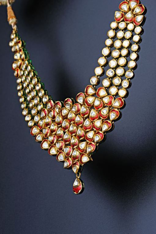 One stunning kundan Meena Necklace by #Kalajee #Jewellery #Jaipur