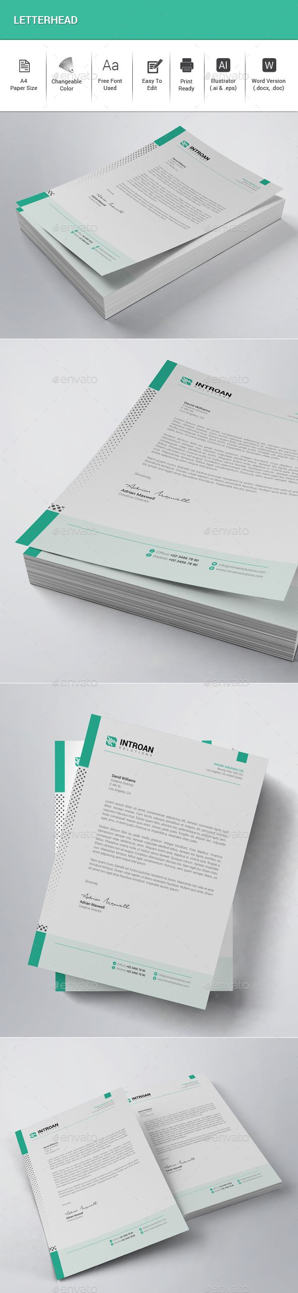 #Letterhead - Stationery Print #Templates Download here:  https://graphicriver.net/item/letterhead/20336154?ref=alena994