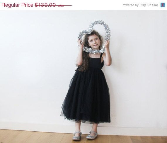 Black tulle dress and tie straps Black flower girl by Blushingirls