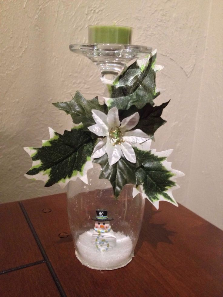 Snowman wine glass snow globe