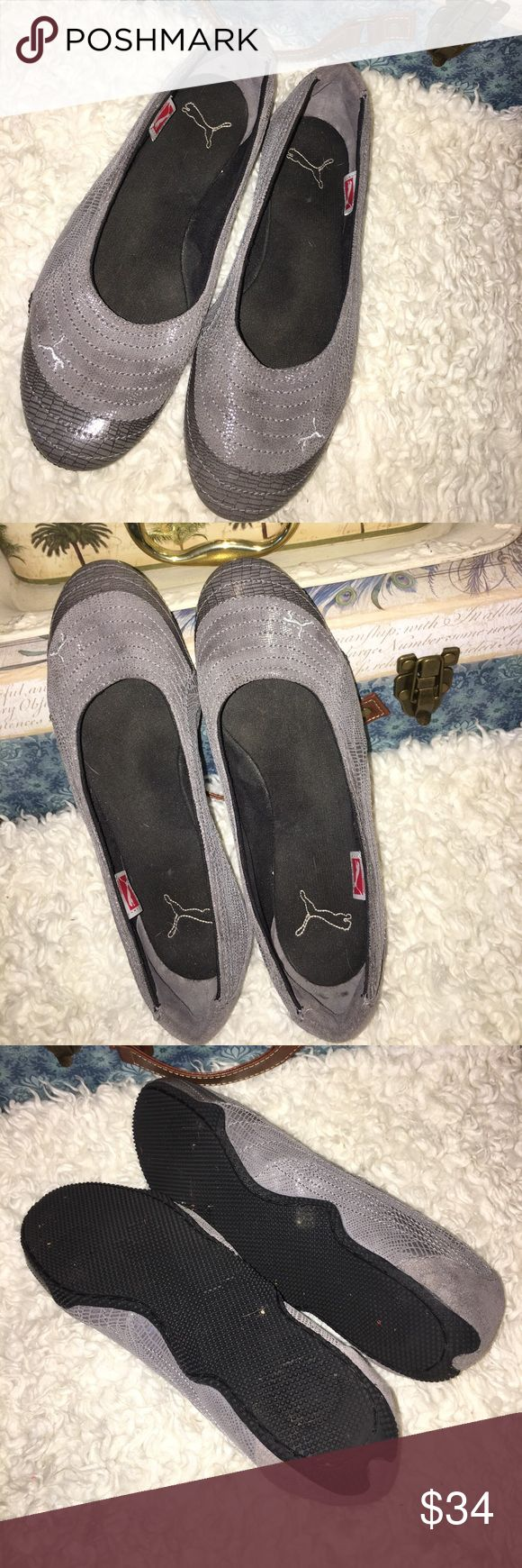 "Puma ""athleisure"" slip on tennies Perfect for on the go women who want to be comfortable and stylish. Gorgeous gray leather/suede flats with slip resistant soles. I love Pumas❤️ Puma Shoes Flats & Loafers"