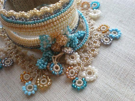 Freeform bead crochet cuff
