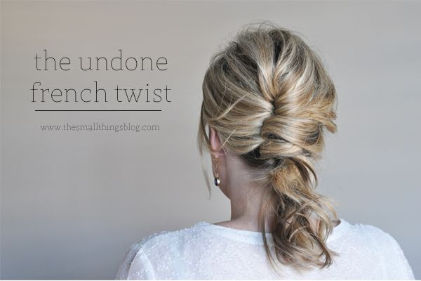 Want to try this.  I'm terrible at hair but maybe if I practice??  The Undone French Twist Tutorial