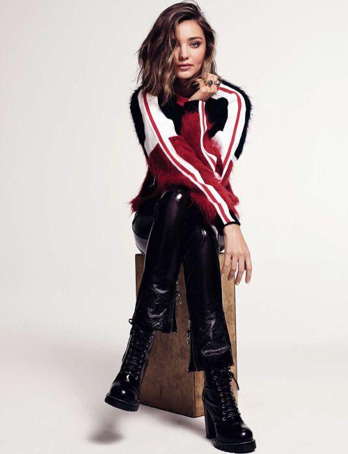 Miranda Kerr by Nino Munoz for Elle Spain Nov 2016 - Louis Vuiiton     #Miranda Kerr #leather #leather pants #Louis Vuitton #patent leather #patent leather pants