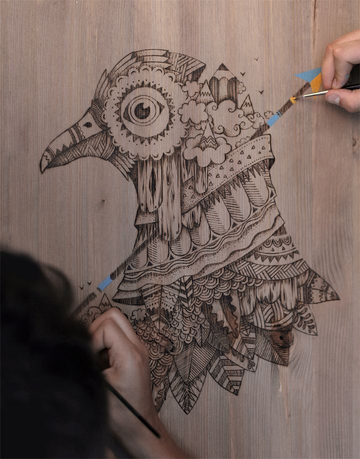 Illustration à la pyrogravure pour finir sur un tee-shirt de la marque Olow en édition limitée. the Feebles - Olow - Dasswassup - www.olow.fr