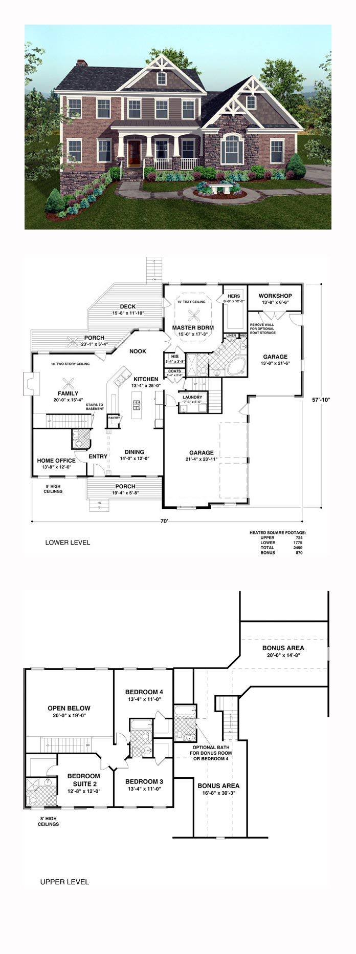 Craftsman Style COOL House Plan ID: chp-43645 | Total Living Area: 2499 sq. ft., 4 bedrooms and 3.5 bathrooms. #craftsmanhome