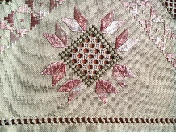 Traditional Transylvanian linen hand embroidery cream pale