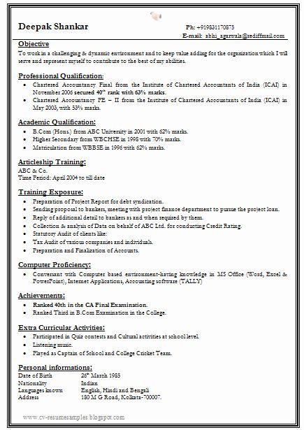 25 Simple Resume format for Freshers in 2020   Resume ...