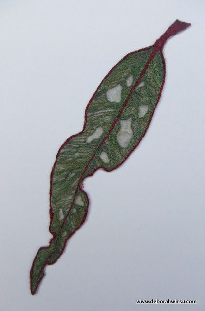 Textile leaf made from organza and thread. Eucalyptus leaf - Australian Red Gum