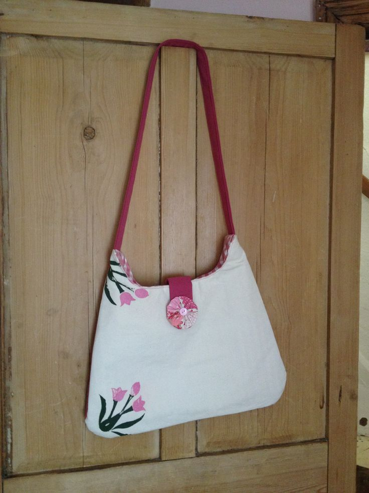 hand printed medium bag on vintage fabric