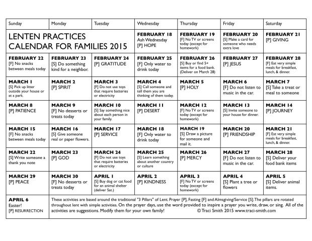 Lenten Family Activities/Practices Calendar 2015 - Prayer, Fasting and Service activities for 2015. Free printable. Yay!   2016 version here: https://www.etsy.com/listing/265578857/family-practices-lenten-calendar-2016?ref=shop_home_active_1