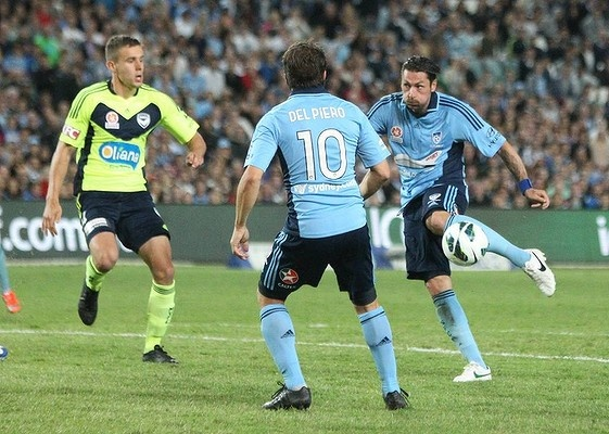 Pascal Bosschaart striking his first ever senior goal in his 16 year career to give Sydney FC a two goal lead over Melbourne Victory